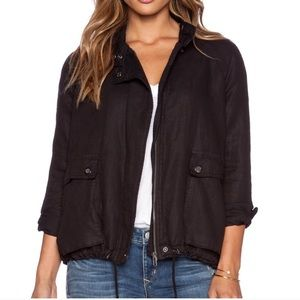 Free People Linen Blend Bomber Jacket in charcoal